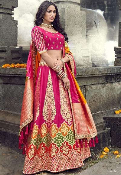 pink banarasi silk traditional lehenga choli 3703