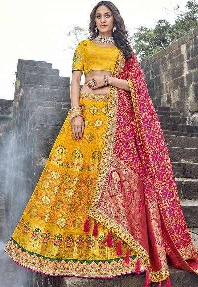 bright yellow banarasi silk traditional lehenga choli 3706