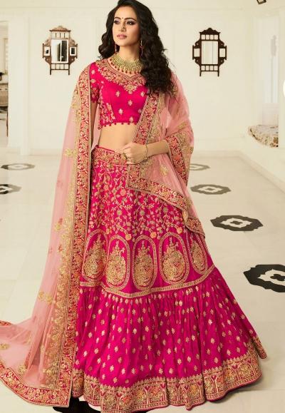 rani pink silk embroidered bridal lehenga choli 937