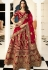 maroon silk embroidered bridal lehenga choli 938