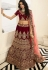 dark maroon silk embroidered bridal lehenga choli 941