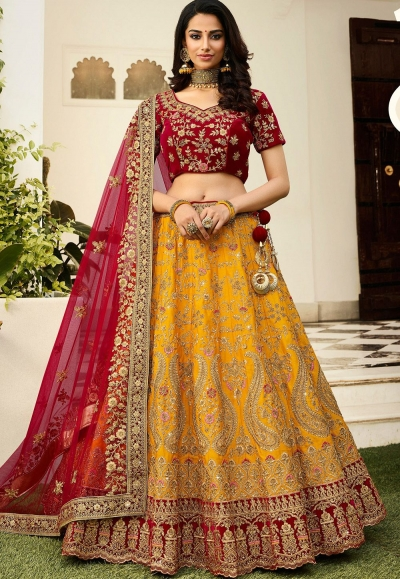 yellow maroon silk embroidered lehenga choli 942