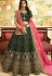 dark green silk embroidered wedding lehenga choli 944