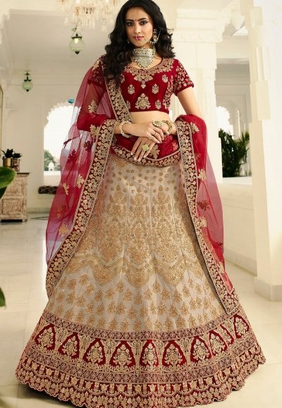 off white maroon silk wedding lehenga choli 945