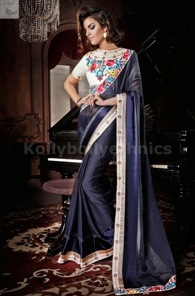 Blue and white Party Wear Saree