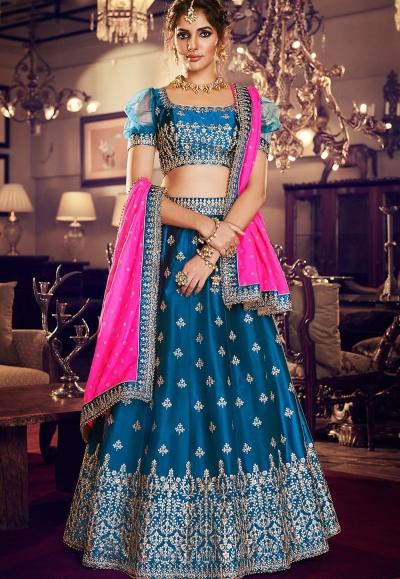 dark blue satin silk embroidered lehenga choli 4159