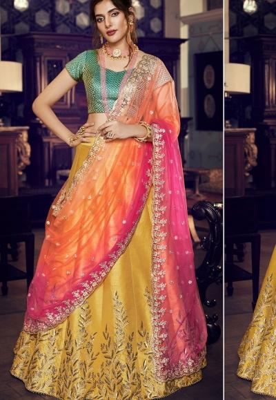 multi color silk embroidered lehenga choli 4162