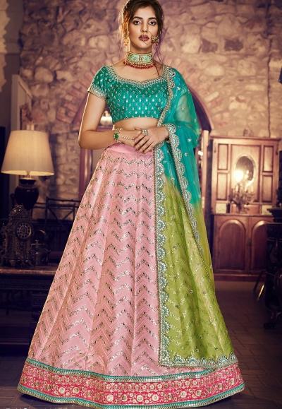 multi color silk embroidered lehenga choli 4163