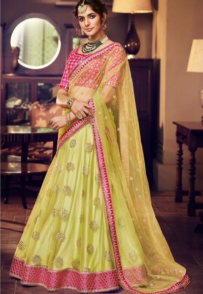 green pink satin silk embroidered lehenga choli 4164