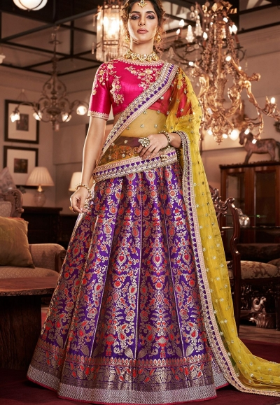 multi color jacquard silk embroidered lehenga choli 4165