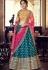 multi color satin silk embroidered lehenga choli 4166