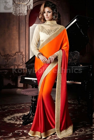 Red and orange shahded Party Wear Saree