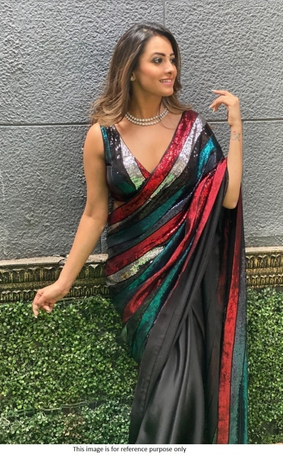 Bollywood Anita Hassanandani Inspired Multi sequins saree