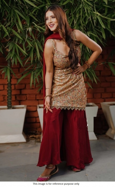 Bollywood model Uppada silk maroon and gold palazzo set