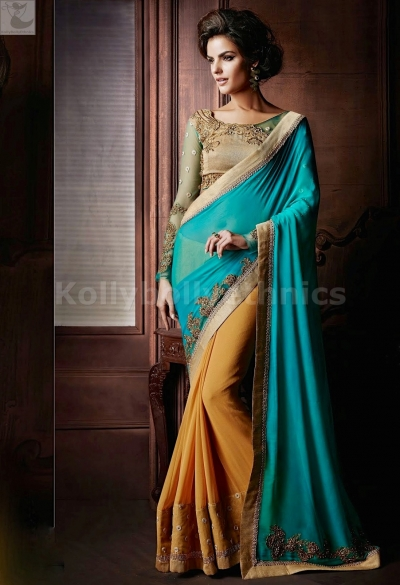 Turquoise Blue Party Wear Saree