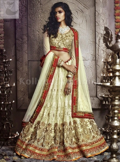 Cream colour Wedding Wear Lehenga