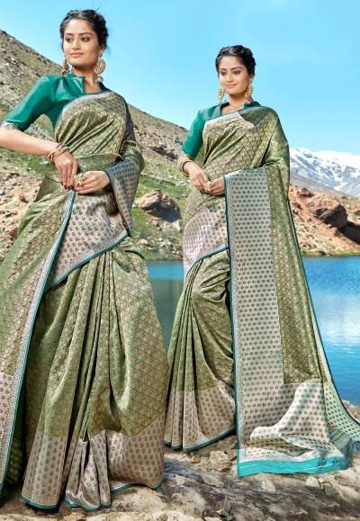 Green banarasi silk saree with blouse 96687