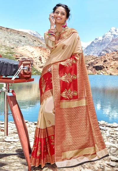Beige banarasi silk saree with blouse 96679