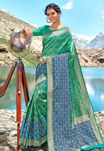 Green banarasi silk festival wear saree 96680
