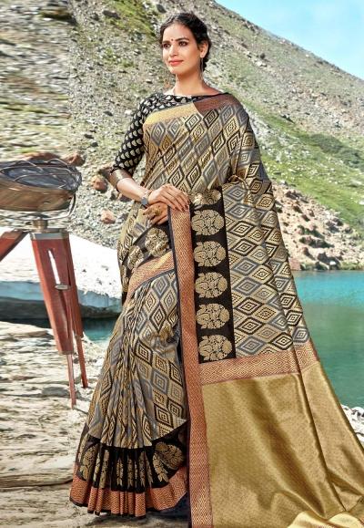 Grey banarasi silk festival wear saree 96688