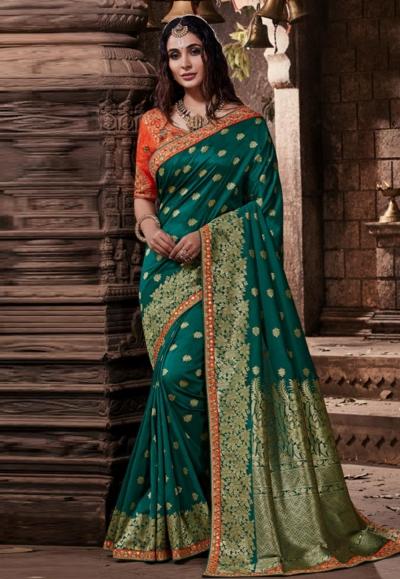 Teal banarasi silk saree with blouse 96650