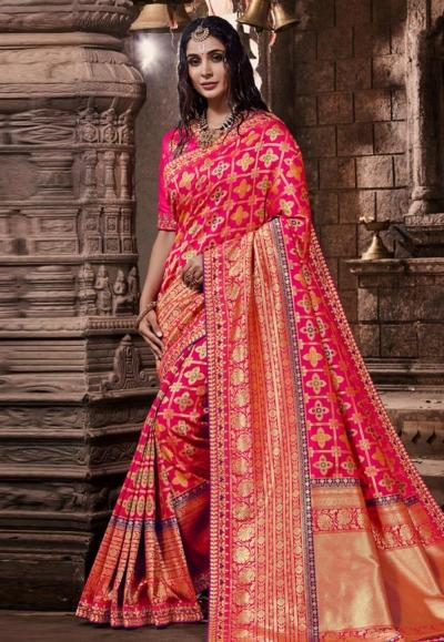 Pink banarasi silk saree with blouse 96644