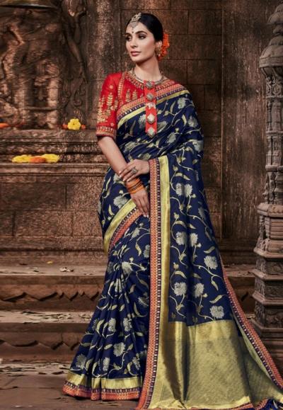 Navy blue banarasi silk festival wear saree 96645