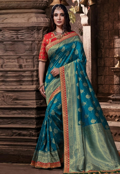 Blue banarasi silk festival wear saree 96647