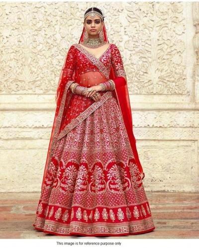 Sabyasachi Inspired Red bridal silk lehenga choli