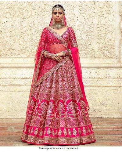 Sabyasachi Inspired Pink bridal silk lehenga choli