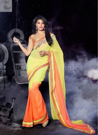 Jacqueline Fernandez Party  orange and yellow wear saree