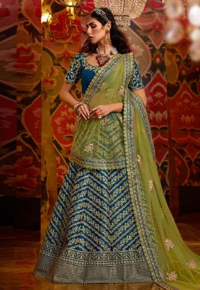 Blue raw silk circular lehenga choli 5179