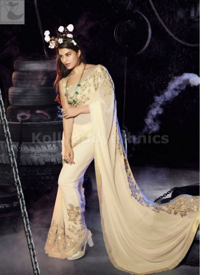 5f5b2e977f Jacqueline Fernandez Cream colour Party wear saree