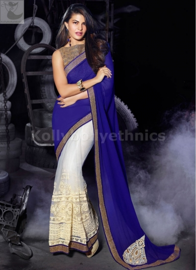 Jacqueline Fernandez rblue and half white Party wear saree