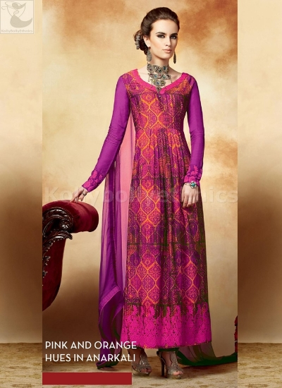 Pink and orange Party wear straight cut salwar kameez