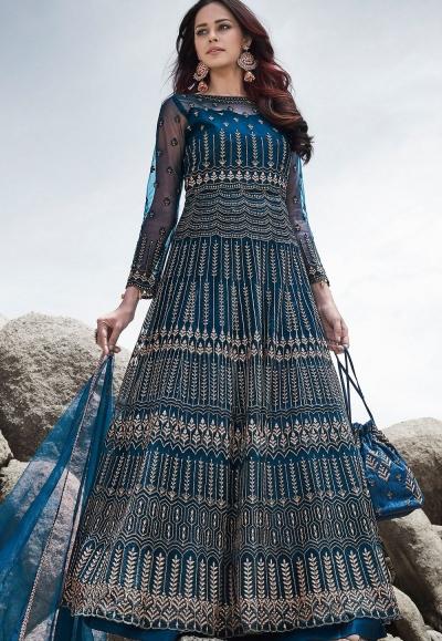 blue net embroidered long anarkali suit 83004