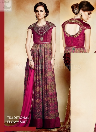 Magenta colour multi work Party wear straight cut salwar kameez