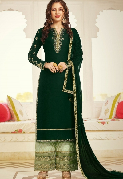 dark green satin embroidered palazzo suit 11003