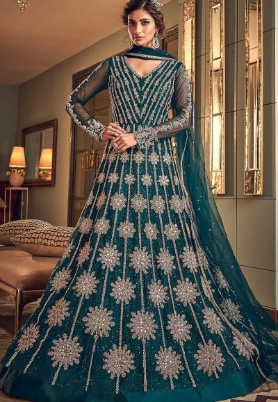 blue net embroidered floor length anarkali suit 6502