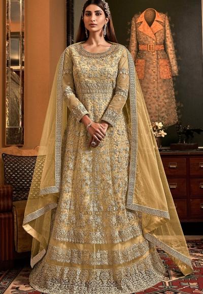 cream net embroidered floor length anarkali suit 6503