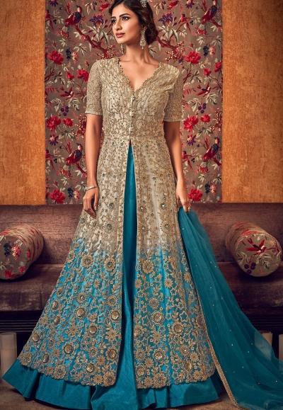 beige blue net embroidered lehenga style anarkali suit 6507