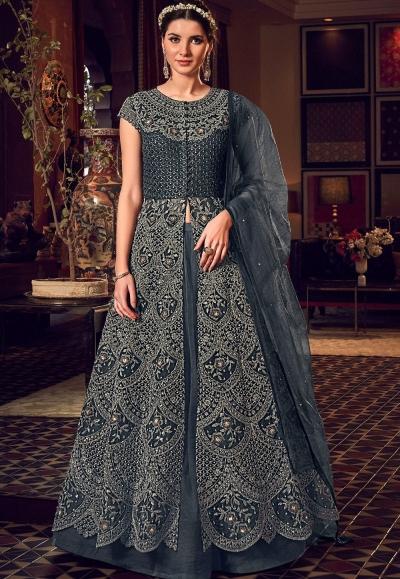 dark grey net embroidered floor length lehenga anarkali suit 6508