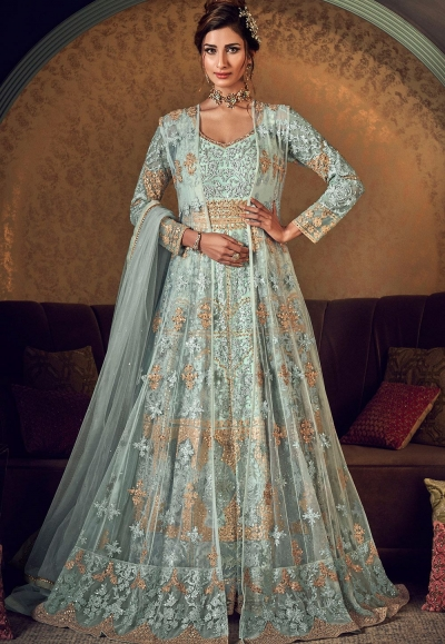 sky blue net embroidered anarkali gown suit 6509