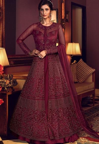 maroon net embroidered floor length lehenga anarkali suit 6510