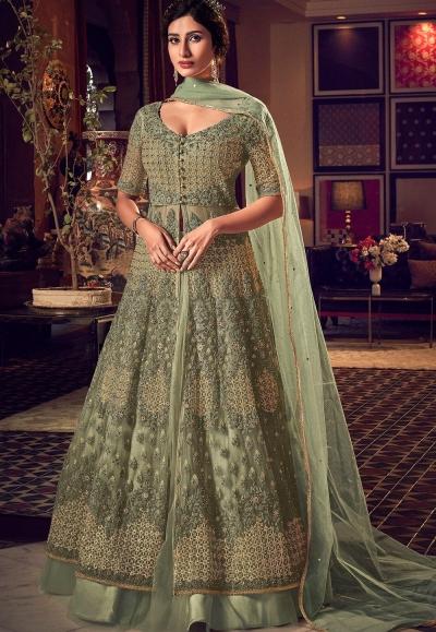 pastel green net embroidered floor length lehenga anarkali suit 6511