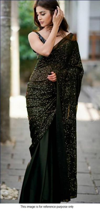Bollywood model Georgette black sequins half and half saree