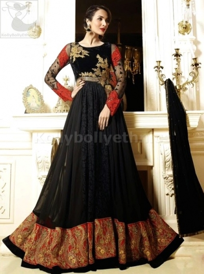 Black georgette Malaika Arorakhan Party wear salwar kameez