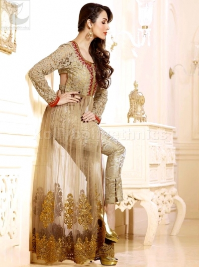 Beige colour Malaika Arorakhan Party wear salwar kameez