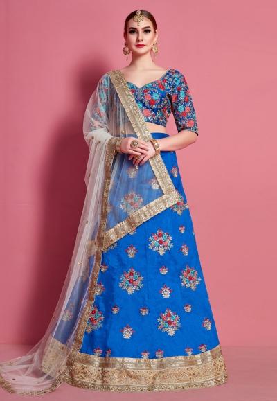 Blue art silk circular lehenga choli 4613
