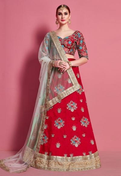 Red art silk circular lehenga choli 4614